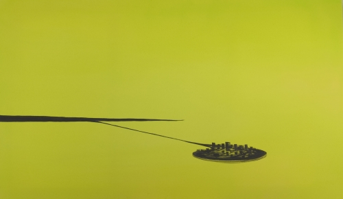 """Satellite Cities (yellow / green with dark city),"" 2002"