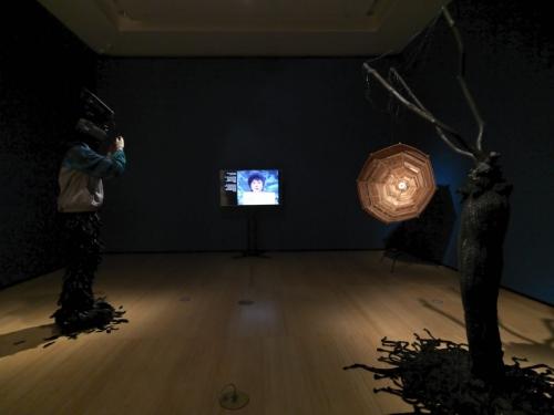"Installation view of Minouk Lim ""L'homme à la camera"" (2015), ""It's a Name I Gave Myself"" (2018), ""Parabolic Satellite"" (2015), ""Hydra"" (2015) (photo by Bruce M. White)"