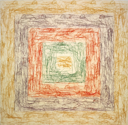 Ghada Amer, The New Albers, 2002, Embroidery and gel medium on canvas