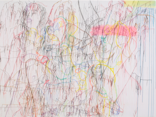 Ghada Amer, Knotty but Nice, 2005, Acrylic, embroidery, and gel medium on canvas, Tina Kim Gallery