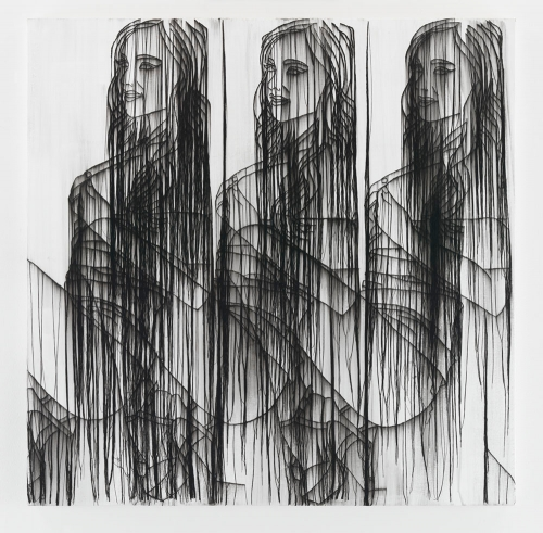 Ghada Amer, THREE GIRLS IN BLACK AND WHITE, 2016