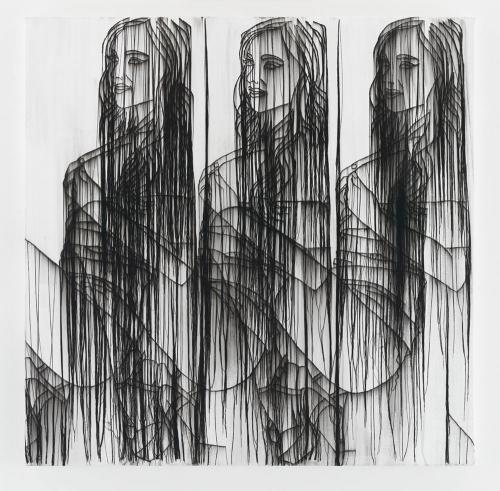 Ghada Amer, THREE GIRLS IN BLACK AND WHITE, 2016