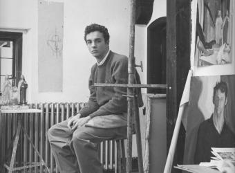 Photographic portrait of Hugh Steers in a studio