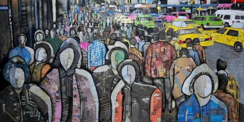 A Cuban in New York, Mixed media on canvas, 36x72 inches