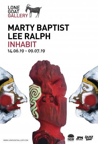 Marty Baptist & Lee Ralph Inhabit exhibition invitation