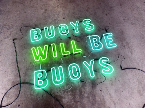 Hannah Cutts Buoys Will Be Buoys  2020  Neon, plywood, vintage lobster buoys ​175 cm h x 200cm
