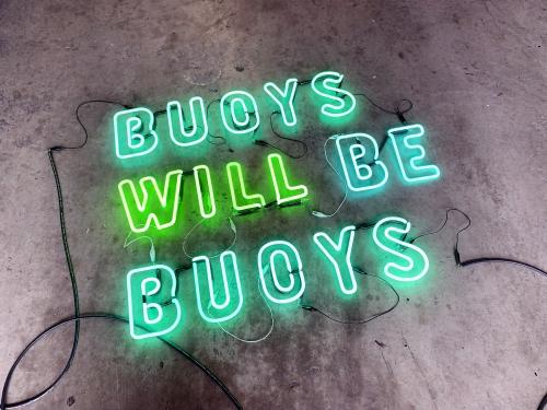 Hannah Cutts Buoys Will Be Buoys  2020  Neon, plywood, vintage lobster buoys 175 cm h x 200cm