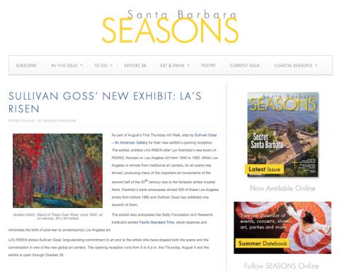 SULLIVAN GOSS' NEW EXHIBIT: LA'S RISEN