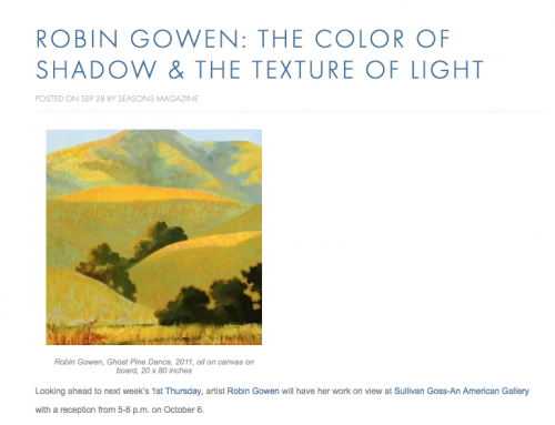 ROBIN GOWEN: THE COLOR OF SHADOW & THE TEXTURE OF LIGHT