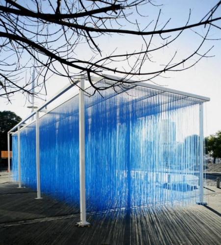 Jesús Rafael Soto, Penetrable BBL Bleu, 1999/2007 (Edition AVILA 2007; edition 8/8), painted steel and suspended polyvinyl chloride (PVC) tubes, three size configurations (1) 143 11/16 × 177 1/8 × 236 3/16 in.; (2) 143 11/16 × 177 1/8 × 393 11/16 in.; (3) 143 11/16 × 177 1/8 × 5511/8 in., Los Angeles County Museum of Art, purchased with funds provided by Ronald A. Belkin, Alice and Nahum Lainer, Willow Bay and Bob Iger, Colleen and Brad Bell, Lynda and Stewart Resnick, Mary Solomon, C. E. Horton, Hana Kim and Kelvin Davis, Ann Colgin and Joe Wender, Rebecka and Arie Belldegrun, the Louis L. Borick Foundation, Andy and Carlo Brandon-Gordon, Mary and Daniel James, Janet Dreisen Rappaport, Nadine and Fredric D. Rosen, Florence and Harry Sloan, Susan and Eric Smidt, Estrellita and Daniel Brodsky, Wendy Stark Morrissey, and Surpik and Paolo Angelini through the 2020 Collectors Committee, © Jesús Rafael Soto. Installation view of Penetrable BBL Bleu, 1999, Art Contemporain, La Voie des Arts, Saint-Loubouer, 2009, photo: Archives Soto