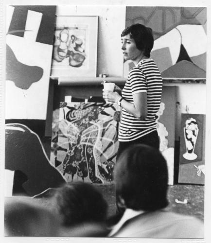 Photographic Portrait of Joan Brown teaching at University of California, Berkeley