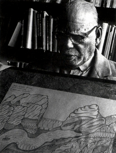 """Joseph Elmer Yoakum with """"Mississippi River Neir Noth Side"""" (p. 96), c. late 1960s."""