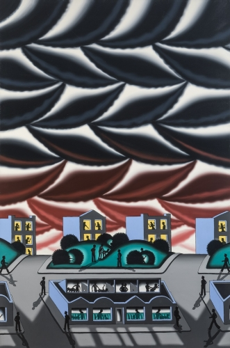 Painting by Roger Brown titled City Nights from 1978