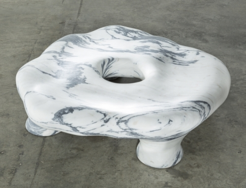 a marble stool by the Haas Brothers from an article in Juxtapoz about the artists