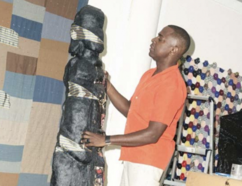 Sanford Biggers at work on one of his BAM sculptures of African sculpture in his studio