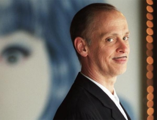 Portrait of John Waters at the Baltimore Art Museum for his retrospective exhibition