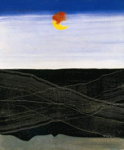 """This photo features a painting by Max Ernst called, """"Mers et Soleil, Lignes de Navigation"""" representing a sky at sunset the sunset in yellow and oranges tons and a dark ocean on the bottom of the canvas."""