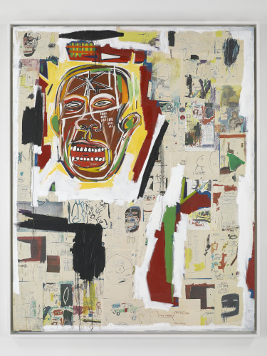 Jean-Michel Basquiat, King of the Zulus, 1984-85  Acrylic, oilstick, and Xerox collage on paper mounted on canvas.    Collection of (MAC) Museé d'Art Contemporain, Marseille © Estate of Jean-Michel Basquiat. Licensed by Artestar, New York