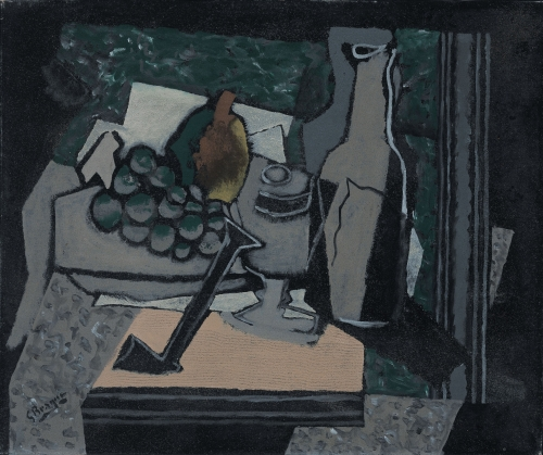 Georges Braque, Nature morte à la pipe, 1919 Oil on canvas 46 x 55 cm. (18 x 21 3/4 in.) This painting represents in a cubist manner, in grey tons a bottle of wine, grapes and a glass all upon a light orange table.
