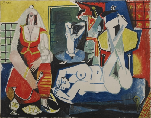This is an image of a painting by Pablo Picasso which is currently being featured at the Louvre Lens for the exhibition, Les Louvres de Picasso. The title of the painting is The Women of Algiers version J 26 January 1955.