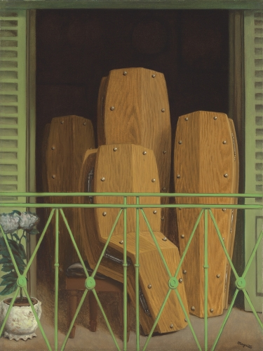 This is a cropped image Magritte, titled Perspective: Le balcon de Manet, produced in 1949. It represents four coffins at a balcony. Three of them are standing up like a person would do. One coffin is in a seated position. This is a surrealist painting.