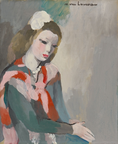 Marie Laurencin, Young woman with pearls. This painting depicts a young blond woman wearing a pearl necklace, seated on a chair looking down with her hands joined.