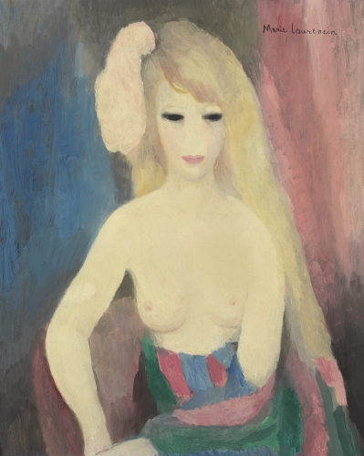 This is a cropped image of Marie Laurencin's painting titled Woman bust with naked breast produced in 1926. WE can only discern the upper body of the woman in this image. It depict a young woman with long blond hair wearing a bright pink hair ornament her eyes are black she seems to be looking down and the background is blue and pink.