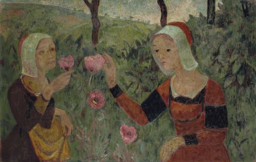 Paul Serusier, Les Pavots (Poppies), 1915 this is a painting which represents two women dressed in an old fashion way picking poppy flowers