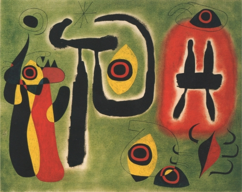 Joan Miró, Le soleil rouge ronge l'araignée (The Red Sun Gnaws at the Spider),1948 Oil on canvas 76 x 96 cm. (29 7/8 x 37 3/4 in.)