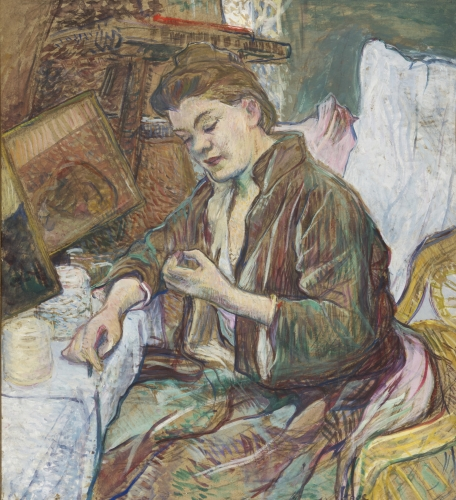 This is a cropped image of an oil on board by Henri de Toulouse Lautrec which depicts a woman seated on a chair doing a manicure. this painting is not merely a portrait but a complex study of a woman making herself ready for the day, surrounded by all the objects she needs to achieve this. Every detail is organized to suggest the casual disorder of real life.
