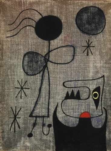 Joan Miró, Femmes dans la nuit (Women in the night), 1944 Oil on canvas 21.5 x 16.5 cm. (8 1/2 x 6 1/2 in.)