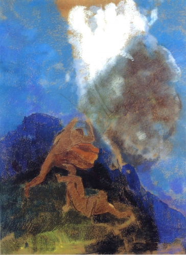 THis is a cropped image of Odilon Redon's painting titled Caien and Abel. We can see two masculine figures painted in light brown twins fighting. The background is painted in blue and loosely depicts a landscape.