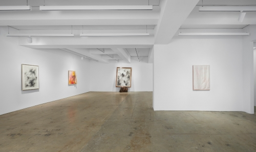 This image is an installation view of the exhibition David Hammons: Basketball and Kool Aid. It shows one of the gallery room, displaying on the front wall a large scale diptych. On the left wall there is one medium size the top of it covered with fabric. On the right wall there is a medium size painting.