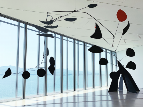Alexander Calder, Untitled, 1954 SCULPTURE: Hanging mobile: painted metal and wire 243.84 x 441.96 x 182.88 cm. (96 x 174 x 72 in.) This photo depicts an installation view of Calder, Untitled, 1954 in the setting of the museum Centro Botin, the sculpture is displayed in a large room, in front of a large window wall which overlooks the ocean and in the far backgrounds the hills of the town of Santander in Spain.