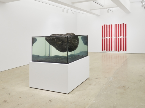 This is an image to promote the exhibition Daniel Buren and Pierre Huyghe at our second art gallery focused on Contemporary Art called Nahmad Contemporary. It is an installation view that displays a large sculpture by Pierre Huyghe, an aquarium filled with water where a large rock is floating. The rock is floating because it is a very porous volcanic rock. In the background we can see one of Daniel Buren painting composed solo of white and red stripes.