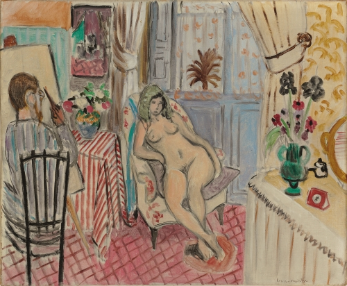 This is a cropped image of Henri Matisse's painting titled the artist and his model. It represents a nude model seated on an armchair in an interior and a painter holding a brush, looking at her and painting her at his easel. The overall color palette is bright and warm, filled with sky blue, bright yellows, and pink lemonade and red. There is a lot of patterns and stripes on the carper the tablecloth and the wall paper which provides a rich and vibrant composition.