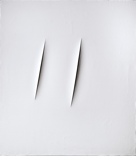 Lucio Fontana, Concetto spaziale, Attese, 1959  Waterpaint on canvas  90 x 80 cm. (35 3/8 x 31 1/2 in.)  ©Helly Nahmad Gallery NY