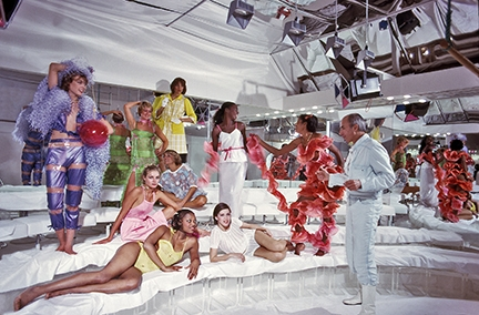 André Courrèges with models, Paris, 1977