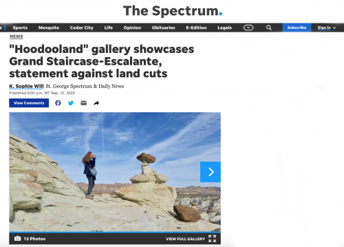 """Hoodooland"" gallery showcases Grand Staircase-Escalante, statement against land cuts"