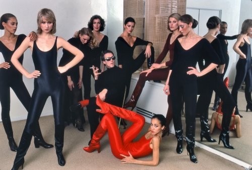 Halston with models Alva Chinn, Chris Royer, Karen Bjornsen, Nancy North, ​Carla Araque, Pat Cleveland, Kyle Traylor, and Shirley Ferro, New York, 1977