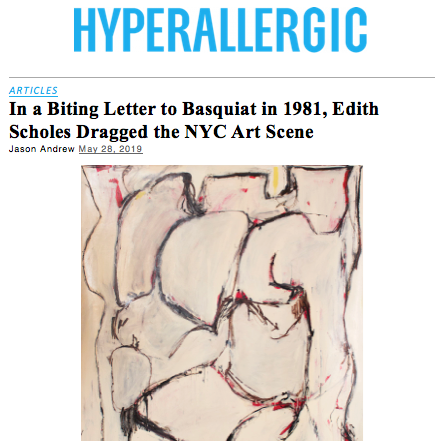 Hyperallergic - Edith Schloss admires Edward Dugmore in a letter to Basquiat