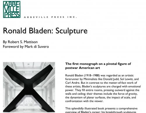 Abbeville -  Ronald Bladen Monograph Press Release