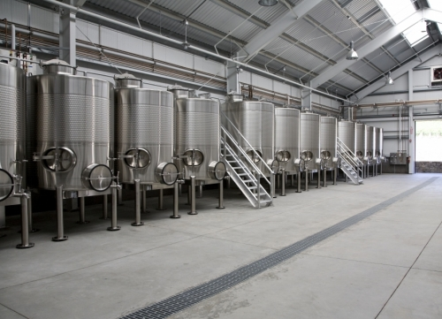 red wine winery fermentation tanks are kept spotless