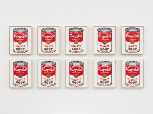 Image of ten Richard Pettibone paintings titled Andy Warhol, 'Campbell's Soup Can, Tomato', 1962, from 2018-2019