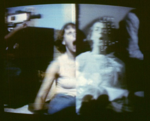 September 11, 1977  Dancer Nancy Lewis (left) at the Battery Park City landfill, New York, interacting via CTS satellite with dancer Margaret Fisher (right) in San Francisco  Photo by Gwenn Thomas