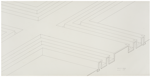 Image of drawing by Robert Morris, titled Section of a Concourse, made in 1971