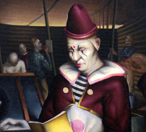 Close up detail of Clown Reading by Paul Sample.