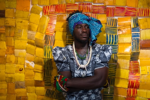 The guardian Serge Attukwei Clottey and GoLokal perform My Mother's Wardrobe at Gallery 1957, Accra, Ghana. Photograph: Nii Odzenma/Courtesy the artist and Gallery 1957