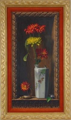 Flower Still Life with Pocket Watch (Trompe l'oeil), 1964