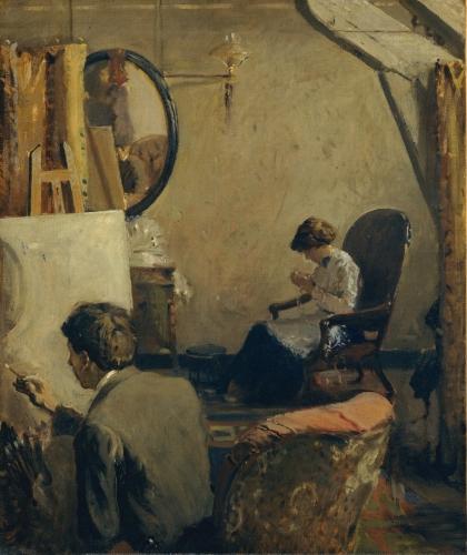 Louis Kronberg in His Studio in Copley Hall, ca. 1913